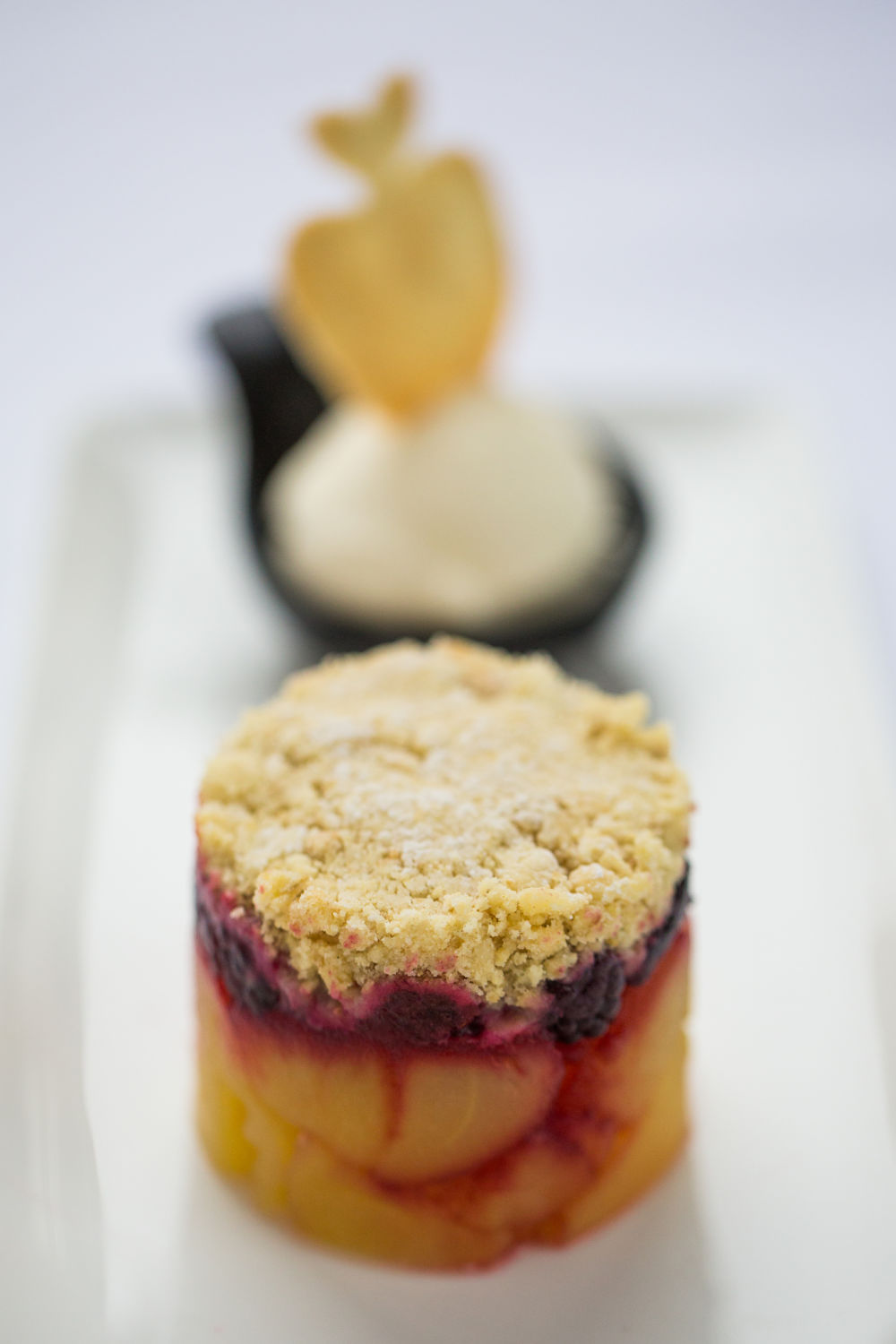 Apple and Blueberry Crumble with Vanilla Pod Ice Cream